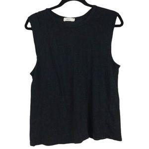 A.L.C. Linen Sleeveless Tank Top in Black